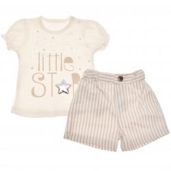 Komplet dziewczęcy spodenki bluzeczka krótki rękaw  LATO r.3-18msc Little Star
