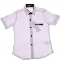 Biała koszula chłopięca z krótkim rękawem r.110-134 elegancka LATO