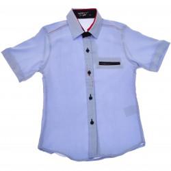 Niebieska koszula chłopięca z krótkim rękawem r.110-134 elegancka LATO
