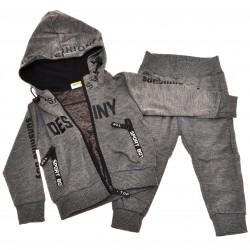 DRES spodnie, bluza z kapturem r.86-110 komplet szary melanż