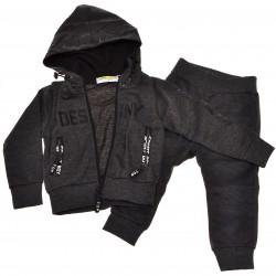 Komplet spodnie, bluza z kapturem DRES r.86-110 grafitowy melanż
