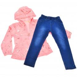 Komplet dziewczęcy kurteczka przeciwdeszczowa, spodnie jeans, różowy r.9-24msc błyszczące motylki