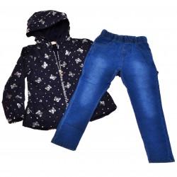 Komplet dziewczęcy granatowy płaszczyk, spodnie jeans, r.104-134 błyszczące motylki