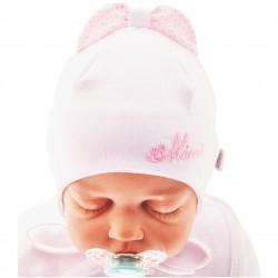 Biała czapka z kokardą czapeczka MINNIE rozmiary od 36cm do 40cm, wiosna jesień 56 62 68 CHRZEST