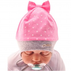 Czapka dziewczęca z kokardą czapeczka FASHION rozmiary od 40cm do 44cm, wiosna jesień 68 74 80