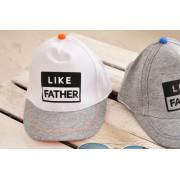 Biała bejsbolówka chłopieca czapka z daszkiem LIKE FATHER rozmiary od 46cm do 50cm 1-3lat