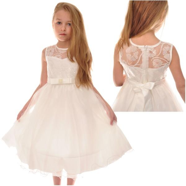 śmietankowa Sukienka Tiulowa Dla Dziewczynki 86 152 Sklep Internetowy Robik