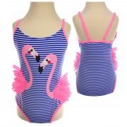Kostium kąpielowy jednoczęściowy niebiesko różowy strój FLAMINGI rozmiary od 92 do 152 LATO basen, plaża