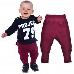Bordowe spodnie chłopięce rozmiary od 56 do 146 wiosna jesień