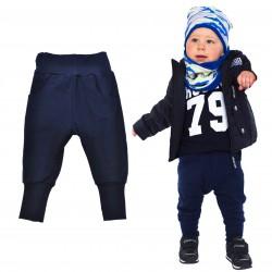 Granatowe spodnie chłopięce rozmiary od 80 do 146 wiosna jesień