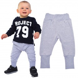 Szare spodnie chłopięce rozmiary od 80 do 146 wiosna jesień