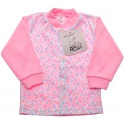 Różowy KAFTANIK w kwiaty , koszulka bawełniana wzór 318R