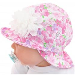 RÓŻOWY KAPELUSZ KWIATY czapka przeciw poceniu LATO rozmiary od 38cm do 52cm