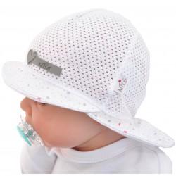 Biały KAPELUSZ gwiazdki czapka przeciw poceniu LATO rozmiary od 40cm do 52cm