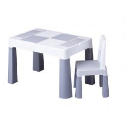 Zestaw MULTIFUN stolik krzesełko DO KLOCKÓW LEGO szary z białym
