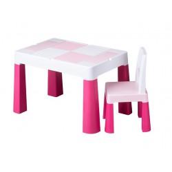 Zestaw MULTIFUN stolik krzesełko DO KLOCKÓW LEGO rózowy z białym