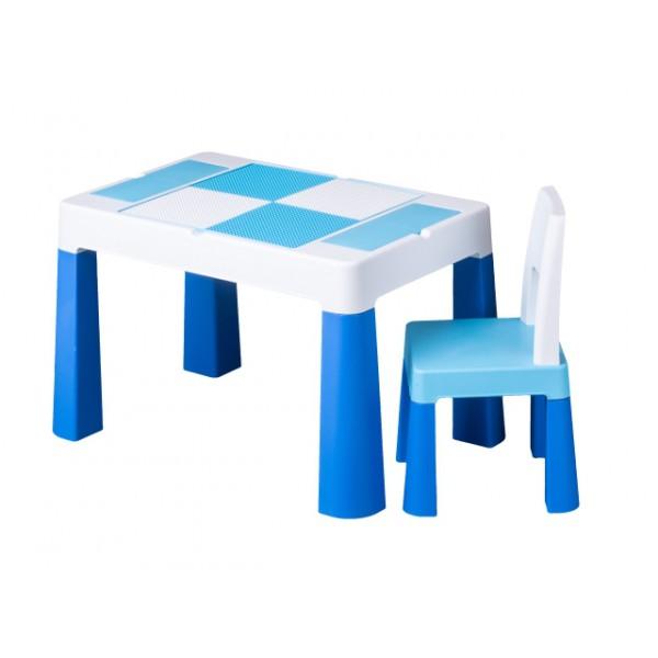 Zestaw MULTIFUN stolik krzesełko DO KLOCKÓW LEGO niebieski z białym