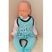 Niebieskie ŚPIOCHY z nadrukiem r.56-80 wzór 504