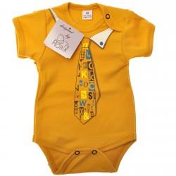 Musztardowe BODY chłopięce z krawatem krótki rękaw LATO wzór 552kr