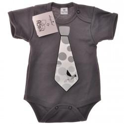 Grafitowe BODY chłopięce z krawatem krótki rękaw r.56 -110 LATO wzór 548