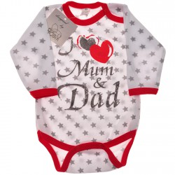"BODY ""I love Mum and Dad"" długi rękaw r.56 -110 wzór 558"
