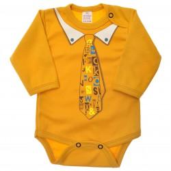 Musztardowe BODY chłopięce z krawatem długi rękaw r.56 -110 wzór 552