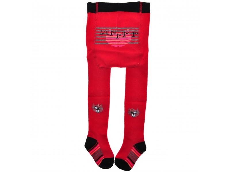 RAJSTOPY bawełniane czerwone z kotkami wzór 332C