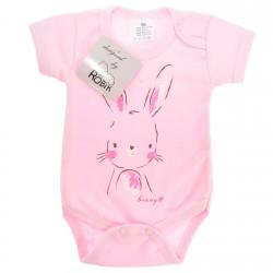 Różowe BODY z królikiem krótki rękaw r.56 -110 LATO wzór 586kr