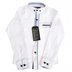 Biała koszula do szkoły długi rękaw r.110-164 elegancka granatowe guziki