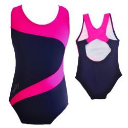 Kostium kąpielowy jednoczęściowy dla dziewczynki granatowo-różowy strój do pływania r. 104-146 basen