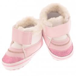 Ocieplane buty na rzep NIECHODKI 0-12M BUCIKI na futerku różowe z brokatem