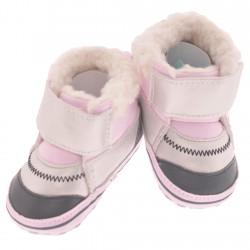 Ocieplane buty na rzep NIECHODKI 0-12M BUCIKI różowo-srebrne