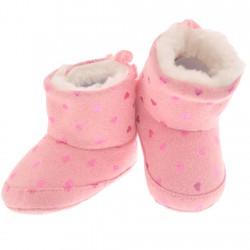 Kozaki w serduszka buty na futerku NIECHODKI 0-12M BUCIKI róż brokat