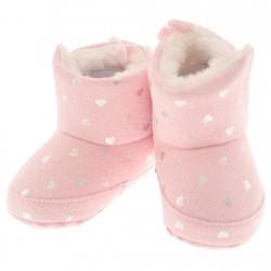 Kozaki w serduszka buty na futerku NIECHODKI 0-12M BUCIKI jasny róż