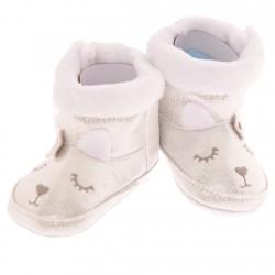 Błyszczące kozaki buty na futerku Króliczek NIECHODKI 0-12M BUCIKI srebrne
