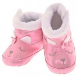 Błyszczące kozaki Króliczek buty na futerku NIECHODKI 0-12M BUCIKI różowe
