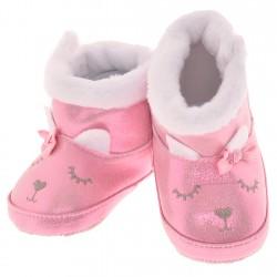 Błyszczące kozaki Króliczek buty na futerku NIECHODKI BUCIKI różowe