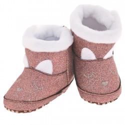 Kozaki z brokatem buty na futerku NIECHODKI 0-12M BUCIKI miedziane