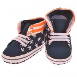 Trampki gwiazdki buty NIECHODKI BUCIKI granatowe z pomarańczowym