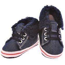 Trampki ocieplane buty na futerku NIECHODKI 0-12M BUCIKI jeans