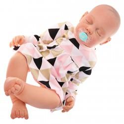 Body sukienka niemowlęca TRÓJKATY róż BROKAT