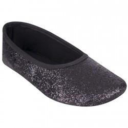 Czarne BALETKI z połyskiem buty baleriny brokat