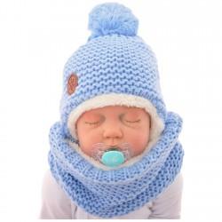 Zimowy komplet czapka i komin błękitny r.38-40