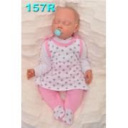 ŚPIOCHY SUKIENKA 2w1 tylko u nas! biało-różowe w gwiazdki r.56-74 wzór 157R