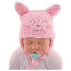 """Czapka zimowa dla noworodka """"Słodka Minka"""" z uszkami 56 62 różowa"""