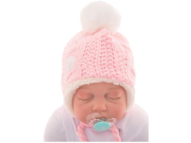 """Różowa czapka na zimę dla dziewczynki r. 38-40 czapeczka """"LONIA"""" 62 68"""