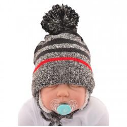 """Czapka na zimę dla chłopca r. 42-44 czapeczka """"BRUCE"""" czerwony pasek 74 80"""
