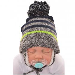 """Czapka na zimę dla chłopca r. 42-44 czapeczka """"BRUCE"""" limonkowy pasek 74 80"""