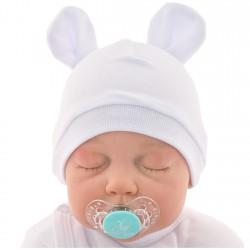 Biała CZAPECZKA dla noworodka SMERFETKA z uszkami *1