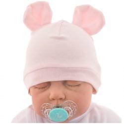 Różowa CZAPECZKA dla noworodka SMERFETKA z uszkami *1